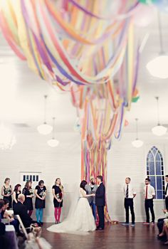 Loving this rainbow #wedding backdrop! From http://greenweddingshoes.com/glitter-rainbow-wedding-mary-marten/  Photo Credit: http://claytonaustinlovestories.com/