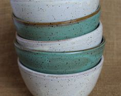 Pottery cereal bowls, rustic, stoneware, wheel thrown, mix and match