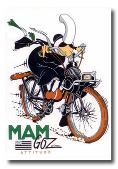 Vintage Motorcycles 90661 bigoud up between Land and Sea - Fleur de Rocaille Illustration Sketches, Graphic Illustration, Illustrations Posters, Vintage Images, Vintage Posters, Moto Scooter, Lotus 7, Power Bike, Motorcycle Posters