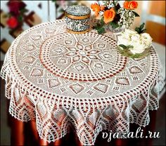 Such beautiful crochet work on this table sized lace piece!!