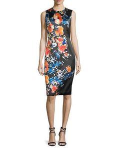 TBQJW Carmen Marc Valvo Sleeveless Floral-Print Sheath Dress