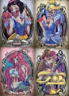 Resultat d'imatges de creepy drawings of disney characters Zombie Disney, Disney Princess Zombie, Creepy Disney, Disney Character Drawings, Disney Drawings, Disney Characters, Disney Princesses, Twisted Princesses, Disney Villains