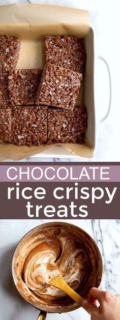 Double chocolate rice krispy treats! Small batch rice crispies treats. Tastes like a copycat Little Debbie Star Crunch