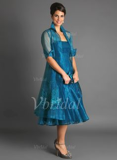 The Mother of Groom Dresses Tea Length Peacock