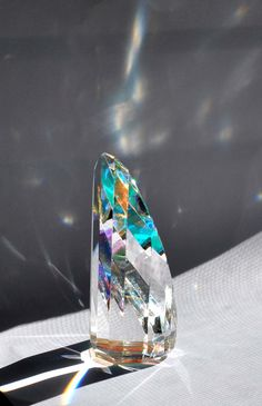 Crystal Prism Small Column with Orange Dichroic