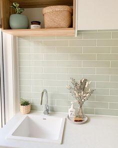 Laundry Room Inspiration, Home Decor Inspiration, Bathroom Renos, Laundry In Bathroom, Küchen Design, House Design, Beaumont Tiles, Green Subway Tile, Style Deco