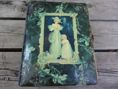 Antique Victorian Celluloid Photo Album Woman w Child