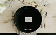 Image 31 - David + Jenna: A minimalist warehouse wedding in Real Weddings. Wedding Pins, Wedding Place Cards, Chic Wedding, Wedding Ideas, Wedding White, Wedding Bells, Wedding Table, Wedding Details, Wedding Jewelry