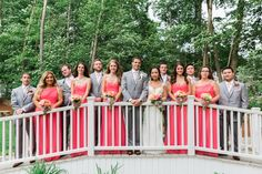 Saphire Estate | Sharon, Massachusetts  •• Bride and Bridesmaid  | Bridal Party | Coral Theme Color Dresses Bouquets | Groomsmen Grey Suit | New England Summer Wedding Photo | Lovely Valentine Photography