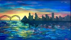 The Memphis, Tennessee, skyline painted with oil on canvas with stained, handmade frame - Size: 18 x 32 - Different sizes and cities Made to Order - Stained handmade frame optional Memphis Skyline, Memphis City, Skyline Painting, Skyline Art, College Dorm Art, Oil On Canvas, Canvas Art, Canvas Paintings, Memphis Design