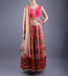 Beige & Pink Embroidered Raw Silk & Net Anarkali Suit  Shop Online: http://www.shadesandyou.com/product/beige-pink-embroidered-raw-silk-net-anarkali-suit/  #DressLehenga #BridalLehengaCholi
