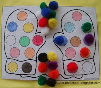 Mitten color matching activity- I'll try this when amber knows not to eat the puffs like buddy the elf.