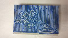 My Bonsai Tree block ready to print with blue ink.