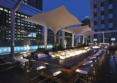 Super excited about staying at this hotel in Chicago next week! Rooftop bar at The Wit hotel, Chicago. Architecture/Design by The Johnson Studio Decoration Restaurant, Restaurant Design, Italy Restaurant, Park Restaurant, Restaurant Ideas, Rooftop Lounge, Rooftop Bar, Bar Lounge, Green Roof Benefits