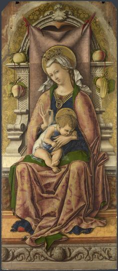 Carlo Crivelli (1435 – 1495) | Polyptych of San Domenico. The Virgin and Child (detail). National Gallery, London.