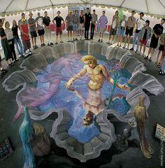 Reflections. 3D street art.  000