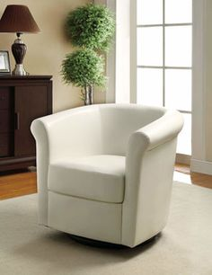 Barrel Back Accent Chair in White by Coaster Furniture in Accent Chairs. Wrapped in a smooth white leather-like vinyl, this barrel back chair has swivel mobility and comfortable seating. Home Design, Interior Design Trends, Küchen Design, Design Ideas, Swivel Barrel Chair, Swivel Armchair, Upholstered Chairs, Accent Chairs Under 100, Accent Chairs For Living Room
