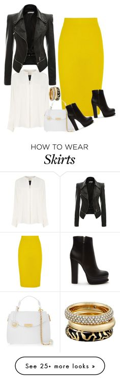 """""""J. Crew Yellow Wool Skirt"""" by ladygroovenyc on Polyvore featuring Derek Lam, J.Crew, Versace, Forever 21 and Michael Kors"""
