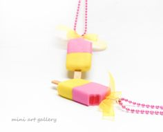 Popsicle necklace, ice-cream kawaii, miniature food jewelry, mini food necklace / strawberry, lemon / handmade polymer clay jewelry. By Mini Art Gallery.