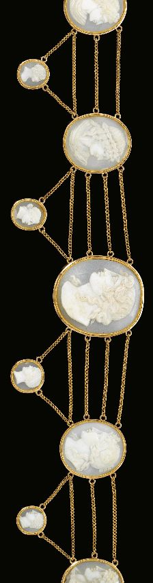 Gold and cameo Résille de cheveux, Early 19th Century - (head band)