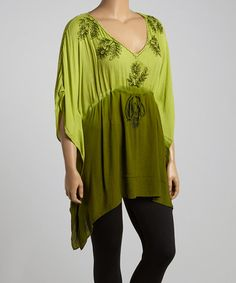 Look what I found on #zulily! Green Ombré Floral Tunic - Plus #zulilyfinds