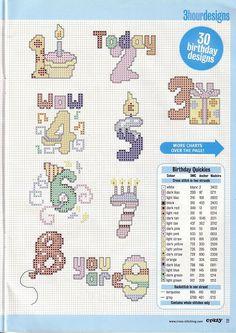 Gallery.ru / Фото #12 - Cross Stitch Crazy 025 октябрь 2001 - tymannost Cross Stitch Numbers, Cross Stitch Letters, Cross Stitch Heart, Cross Stitch Cards, Beaded Cross Stitch, Simple Cross Stitch, Cross Stitching, Cross Stitch Embroidery, Embroidery Patterns