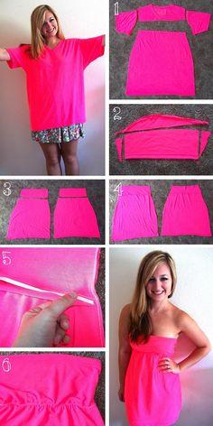How to Turn a T-shirt into a Dress – DIY  Yol tarifi: Kollu ve yaka çıkarın. Ve kollu elbise üst tarafı için bunları kullanmak için açık kesti. Yani, kumaşın aşırı kaldırarak aç kollarını ayarlayın. Bu şekilde malzeme geri kalanı uyacaktır. Etek ve eklemek için üst kısmını takın veya iki öğeleri birleştiren hattın iç kısmında elastik bir bant dikin. Eğer elastik çalışmak için sevmedin mi yoksa, bunun yerine onu giyerek elbiseyi orada kemer olabilir. Tadını çıkarın!