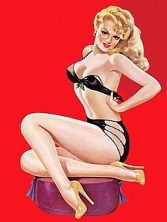 b1e453967 Peter Driben Pin-up girl poster Fire Hot Black Bikini Plus Blonde in  Swimsuit Great Tattoo Photo Art