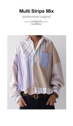 洗練と完成度、モダナイズされた柄合わせ。ストライプ切り替えシャツ・9月27日20時~発売。(80)◎メール便可! | サイトTOP,毎週金曜日発売! | | antiqua公式サイト Fashion Line, Fashion Details, Fashion Design, Deconstruction Fashion, Creation Couture, Shirt Refashion, Stripes Fashion, Swagg, Printed Shirts