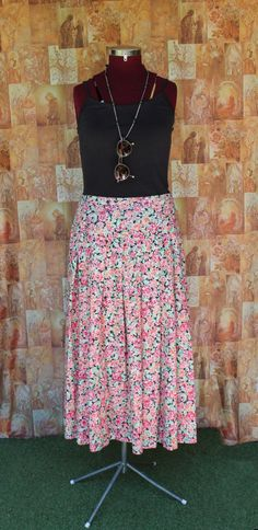34bb447a48 Laura Ashley Bright Floral Skirt / Size 14 / Vintage / 90s Midi Skirt /  Cotton / Made in Australia