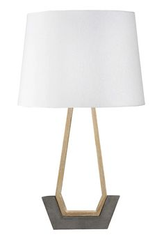 Handcrafted concrete and teak table lamp with natural linen shade and multi-touch dimmer