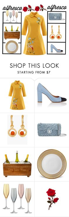 """""""🌼Yellow dress🌼"""" by jojoberryperry ❤ liked on Polyvore featuring Gianvito Rossi, Chico's, Chanel, Cathy's Concepts, L'Objet, LSA International and alfrescodining"""