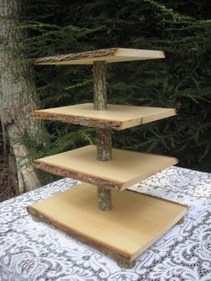Rustic Cupcake Stand Cake Stand Wood Cupcake by YourDivineAffair