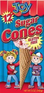 Joy Gluten Free Sugar Cones. I got them at Hyvee  they are almost like the real thing