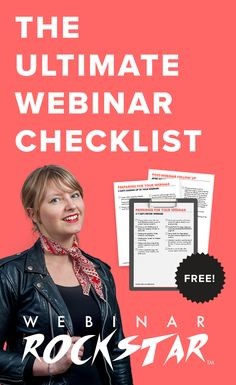 Get the ultimate webinar checklist FOR FREE! Are you missing something important for your webinar success? Whether you want to do a webinar on your own or with a co-host, there are a lot of moving parts and I don't want you to forget anything important!  Download the Ultimate Webinar Checklist right now to see if you're missing anything for your first or next webinar!