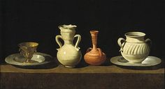Bodegón or Still Life with Pottery Jars by Francisco de Zurbarán. 1636. To refute my generational snobbery re quality of the chambermaid on milk glass pin the other day. Description: Oil on canvas; 46 x 84 cm; Museo del Prado, Madrid