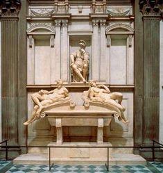 Tomb of Lorenzo Medici (1526-1531), Medici Chapel, San Lorenzo, Florence Italy.  Sculpture by Michelangelo.