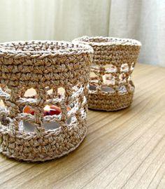 Beige Crochet linen candle holder / Rustic Crochet jar for candles / Crochet lantern Cottage Farmhouse Home Decor. $8.00, via Etsy.