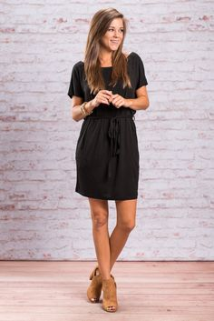 """""""Tied And True Piko Dress, Black"""""""