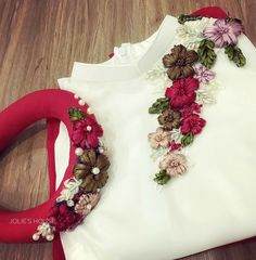 flaunt with our designer handmade dresses .we can customize design according to your requirement . for more information watsaap at 8899313436 Embroidery On Kurtis, Hand Embroidery Dress, Kurti Embroidery Design, Embroidery Neck Designs, Embroidery On Clothes, Embroidery Suits, Silk Ribbon Embroidery, Salwar Pattern, Churidar Designs