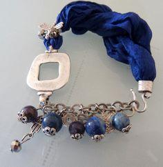 raw silk dark blue lapis lazuli bracelet  free by sevinchjewelry, $26.00