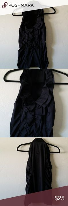 "Black Ruffle Sleeveless Blouse EUC Measurements: Armpit to Armpit: 34"" Length: 24.5"" Express Tops Blouses"