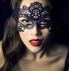 SALE Original black lace mask - vintage victorian halloween face wear - queen art deco gothic mask vamp party