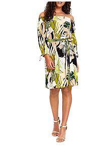 View product Wallis Khaki Palm Print Bardot Dress