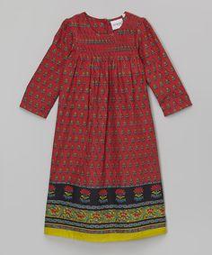Yo Baby Red Floral Smocked Shift Dress - Toddler & Girls | zulily
