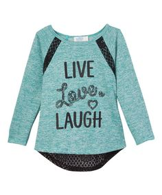 Look at this #zulilyfind! Teal 'Live Love Laugh' Lace Tee - Girls by miniMOCA #zulilyfinds