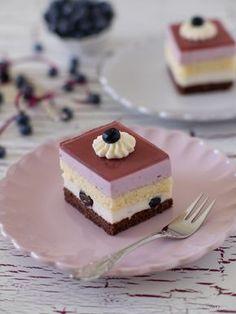 Heidelbeer-Kokos-Schnitten German Desserts, Mini Desserts, No Bake Desserts, Delicious Desserts, Dessert Recipes, Patisserie Design, Coconut Slice, Fun Cooking, Cacao