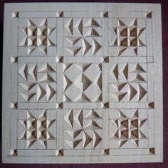 Chip Carving Class - Quilt Squares Post pics of your square(s) HERE! Dremel Carving, Soap Carving, Wood Carving Designs, Wood Carving Patterns, Carving Letters In Wood, Whittling Wood, Quilted Ornaments, Small Wood Projects, Wood Creations