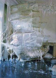 Boat ice sculpture photographed by Tim Walker for US Vogue