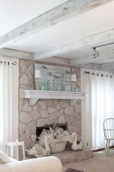 Notice the wash she did on the stone, how about doing this in the cottage instead of painting?